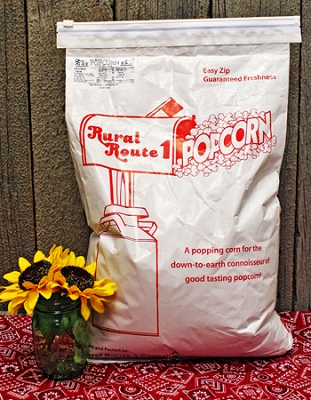 25lb White Popping Corn Reclosable Bag